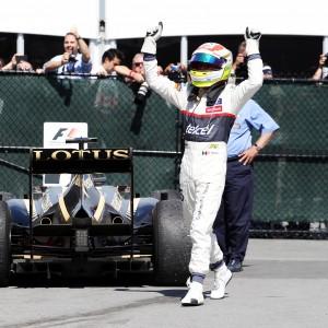 Formula One World Championship 2012, Round 7, Canadian Grand Prix, Montreal, Canada, Sunday 10 June 2012 - Sergio Perez (MEX) Sauber celebrates his third position in parc ferme.