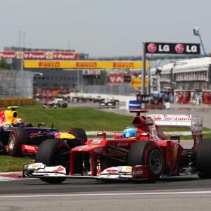 Formula One World Championship 2012, Round 7, Canadian Grand Prix, Montreal, Canada, Sunday 10 June 2012 - Fernando Alonso (ESP) Ferrari F2012 leads Mark Webber (AUS) Red Bull Racing RB8.