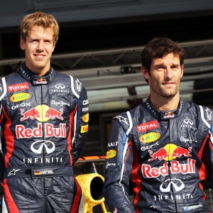 Formula One World Championship 2012, Round 9, British Grand Prix, Silverstone, England, Thursday 5 July 2012 - L to R): Sebastian Vettel (GER) Red Bull Racing and Mark Webber (AUS) Red Bull Racing with the Red Bull Racing RB8 with livery made up of 1000s images of fans.