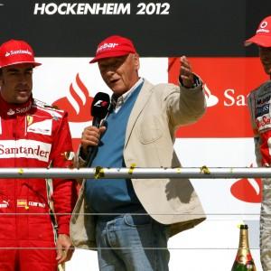 Formula One World Championship 2012, Round 10, German Grand Prix, Hockenheim, Germany, Sunday 22 July 2012 - Fernando Alonso (ESP), Scuderia Ferrari , Niki Lauda (AUT) and Jenson Button (GBR), McLaren Mercedes