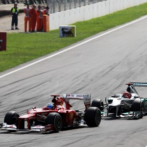 Formula One World Championship 2012, Round 13, Italian Grand Prix, Monza, Italy, Sunday 9 September 2012 - Fernando Alonso (ESP) Ferrari F2012 leads Michael Schumacher (GER) Mercedes AMG F1 W03.