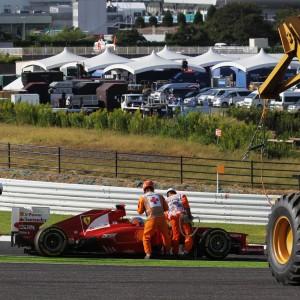Formula One World Championship 2012, Round 15, Japanese Grand Prix, Suzuka, Japan, Sunday 7 October 2012 - Fernando Alonso (ESP) Ferrari F2012 crashed out at the start of the race.