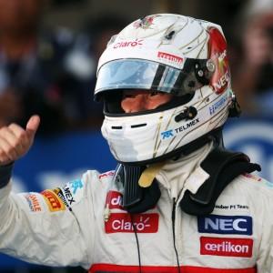 Formula One World Championship 2012, Round 15, Japanese Grand Prix, Suzuka, Japan, Sunday 7 October 2012 - Kamui Kobayashi (JPN) Sauber celebrates his third position in parc ferme.
