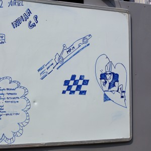Formula One World Championship 2012, Round 17, Indian Grand Prix, New Delhi, India, Friday 26 October 2012 - Marshals notes on a white board.