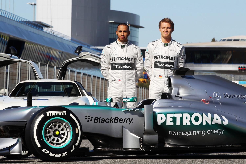 Launch Mercedes F1 W04, Jerez de la Frontera, Spain, Monday 4 February 2013 - Lewis Hamilton (GBR) Mercedes AMG F1 and team mate Nico Rosberg (GER) Mercedes AMG F1 unveil the new Mercedes AMG F1 W04.