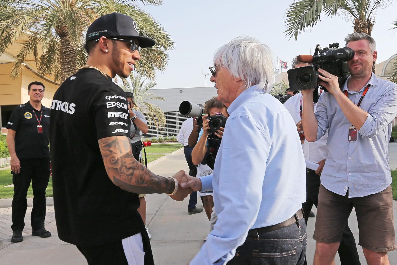 Formula One World Championship 2015, Round 4, Bahrain Grand Prix, Sakhir, Bahrain, Thursday 16 April 2015 - L to R): Lewis Hamilton (GBR) Mercedes AMG F1 with Bernie Ecclestone (GBR).