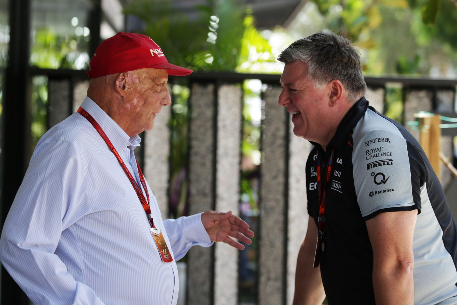 Formula One World Championship 2016, Round 16, Malaysian Grand Prix, Kuala Lumpur, Malaysia, Sunday 2 October 2016 - L to R): Niki Lauda (AUT) Mercedes Non-Executive Chairman with Otmar Szafnauer (USA) Sahara Force India F1 Chief Operating Officer.