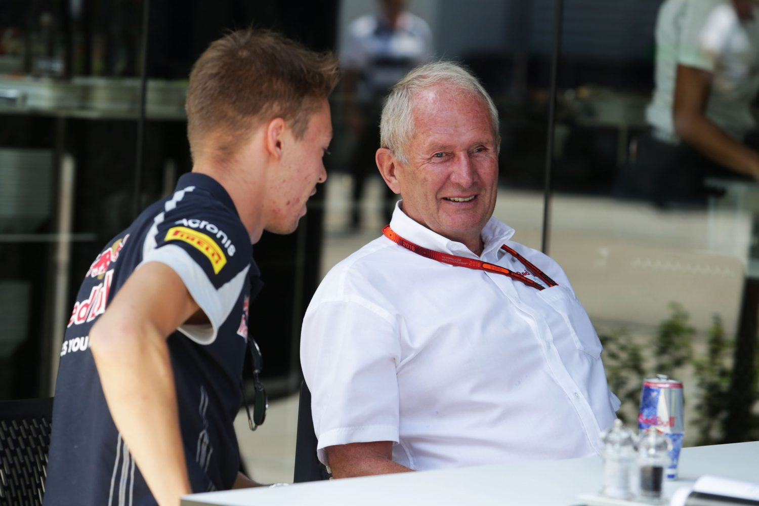 Formula One World Championship 2016, Round 16, Malaysian Grand Prix, Kuala Lumpur, Malaysia, Sunday 2 October 2016 - L to R): Daniil Kvyat (RUS) Scuderia Toro Rosso with Dr Helmut Marko (AUT) Red Bull Motorsport Consultant.