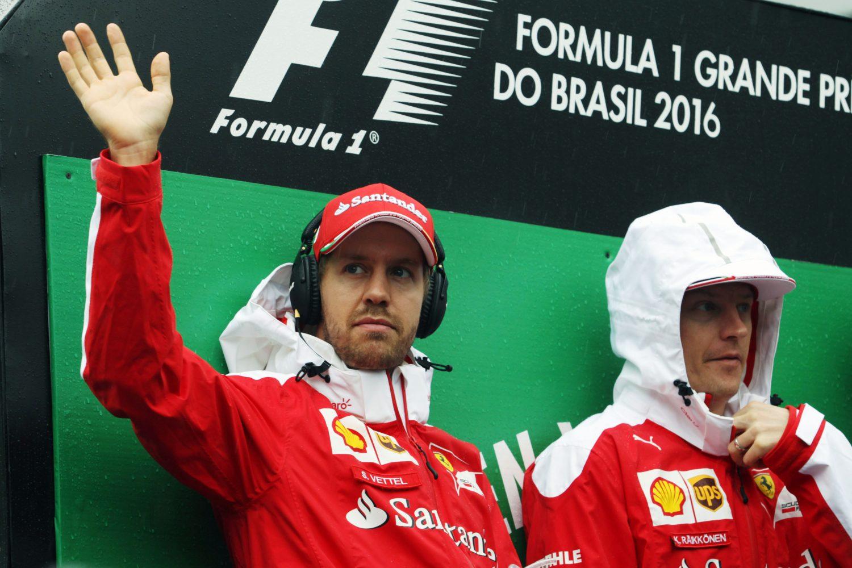 Formula One World Championship 2016, Round 20, Brazilian Grand Prix, Sao Paulo, Brazil, Sunday 13 November 2016 - Lotus F1 Team Sebastian Vettel (GER) Ferrari with Kimi Raikkonen (FIN) Ferrari on the drivers parade.