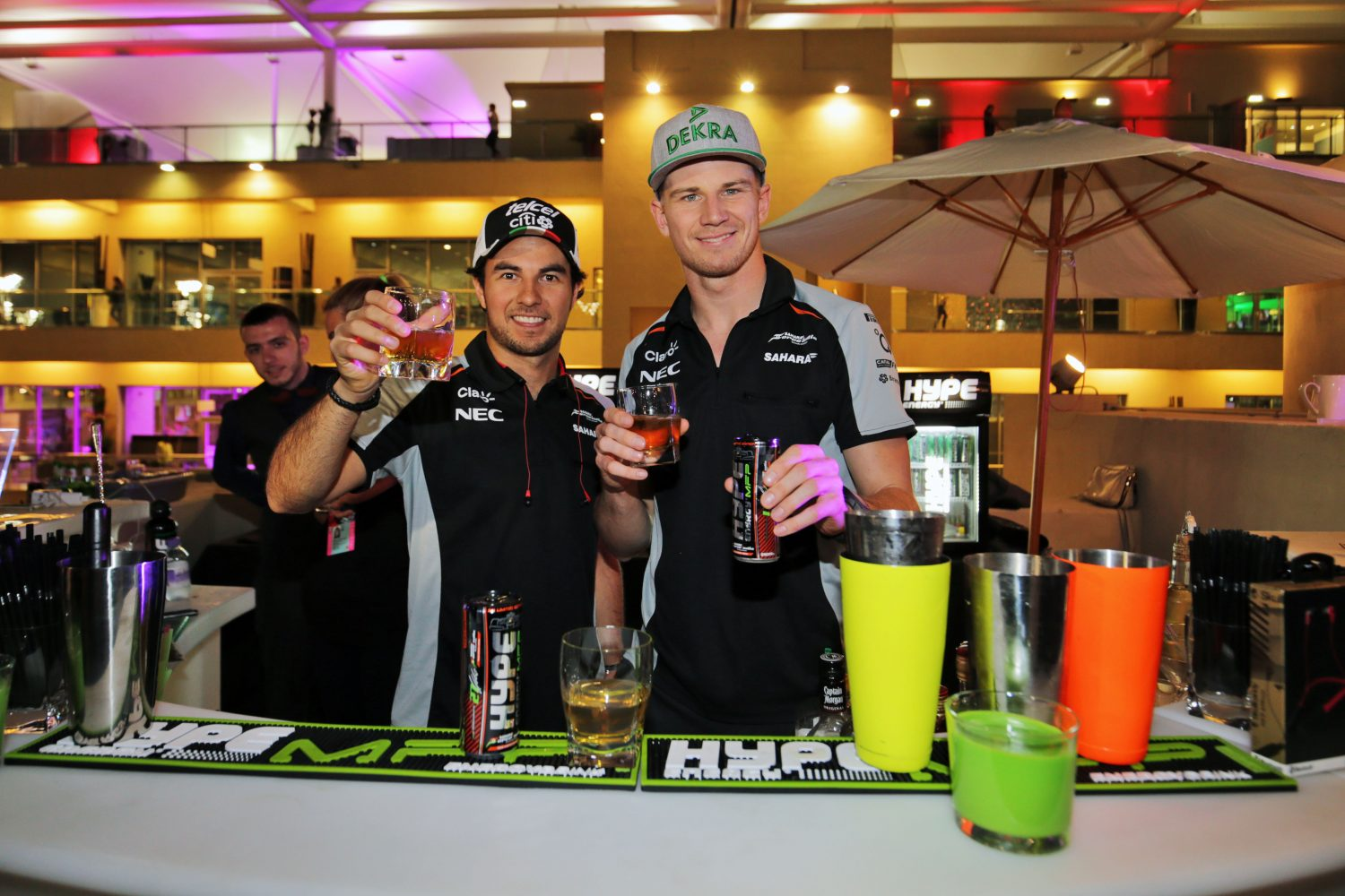 Formula One World Championship 2016, Round 21, Abu Dhabi Grand Prix, Abu Dhabi, United Arab Emirates, Thursday 24 November 2016 - L to R): Sergio Perez (MEX) Sahara Force India F1 and team mate Nico Hulkenberg (GER) Sahara Force India F1 at a Hype Energy Drink event.