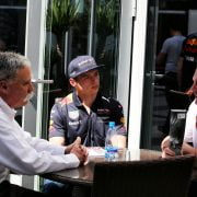 Formula One World Championship 2017, Round 4, Russian Grand Prix, Sochi, Russia, Sunday 30 April 2017 – L to R): Chase Carey (USA) Formula One Group Chairman with Max Verstappen (NLD) Red Bull Racing and Dr Helmut Marko (AUT) Red Bull Motorsport Consultant.