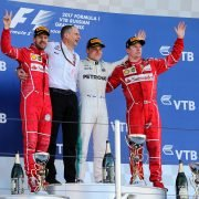 Formula One World Championship 2017, Round 4, Russian Grand Prix, Sochi, Russia, Sunday 30 April 2017 – The podium (L to R): Sebastian Vettel (GER) Ferrari, second; Tony Ross (GBR) Mercedes AMG F1 Race Engineer; Valtteri Bottas (FIN) Mercedes AMG F1, race winner; Kimi Raikkonen (FIN) Ferrari, third.