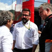 Formula One World Championship 2017, Round 9, Austrian Grand Prix, Spielberg, Austria, Sunday 9 July 2017 – L to R): Alain Prost (FRA) Renault Sport F1 Team Special Advisor with Gwen Lagrue, Head of Mercedes AMG Driver Development and Otmar Szafnauer (USA) Sahara Force India F1 Chief Operating Officer.
