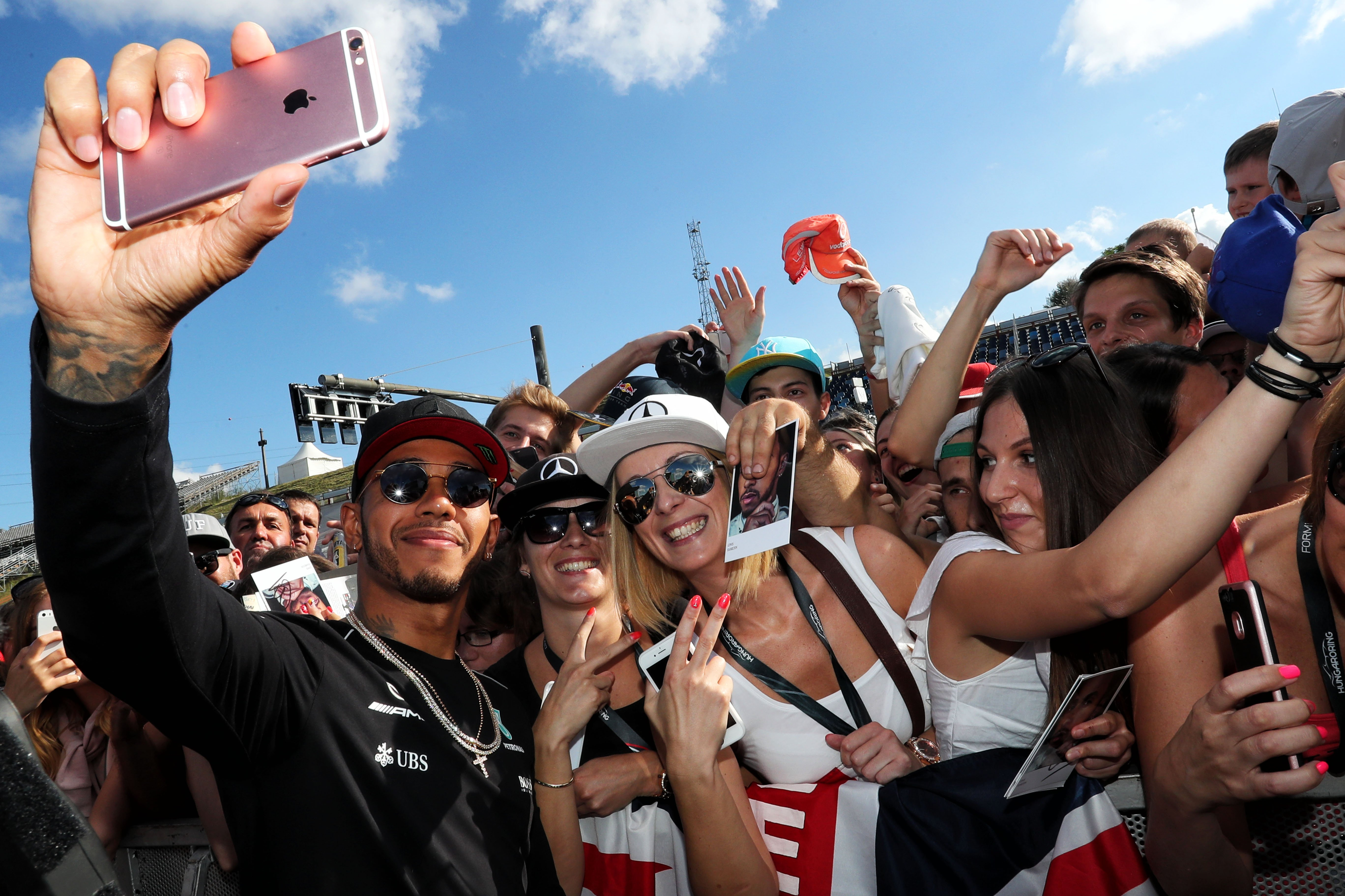 Formula One World Championship 2017, Round 11, Hungarian Grand Prix, Budapest, Hungary, Thursday 27 July 2017 – Lewis Hamilton (GBR) Mercedes AMG F1 with fans.
