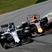 Formula One World Championship 2017, Round 13, Italian Grand Prix, Monza, Italy, Sunday 3 September 2017 – Felipe Massa (BRA) Williams FW40 and Max Verstappen (NLD) Red Bull Racing RB13 make contact.