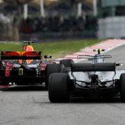 Formula One World Championship 2017, Round 15, Malaysian Grand Prix, Kuala Lumpur, Malaysia, Sunday 1 October 2017 – Valtteri Bottas (FIN) Mercedes AMG F1 W08 and Daniel Ricciardo (AUS) Red Bull Racing RB13 battle for position.