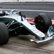 Formula One World Championship 2017, Round 16, Japanese Grand Prix, Suzuka, Japan, Saturday 7 October 2017 – Valtteri Bottas (FIN) Mercedes AMG F1 W08 with a broken front wing in the third practice session.