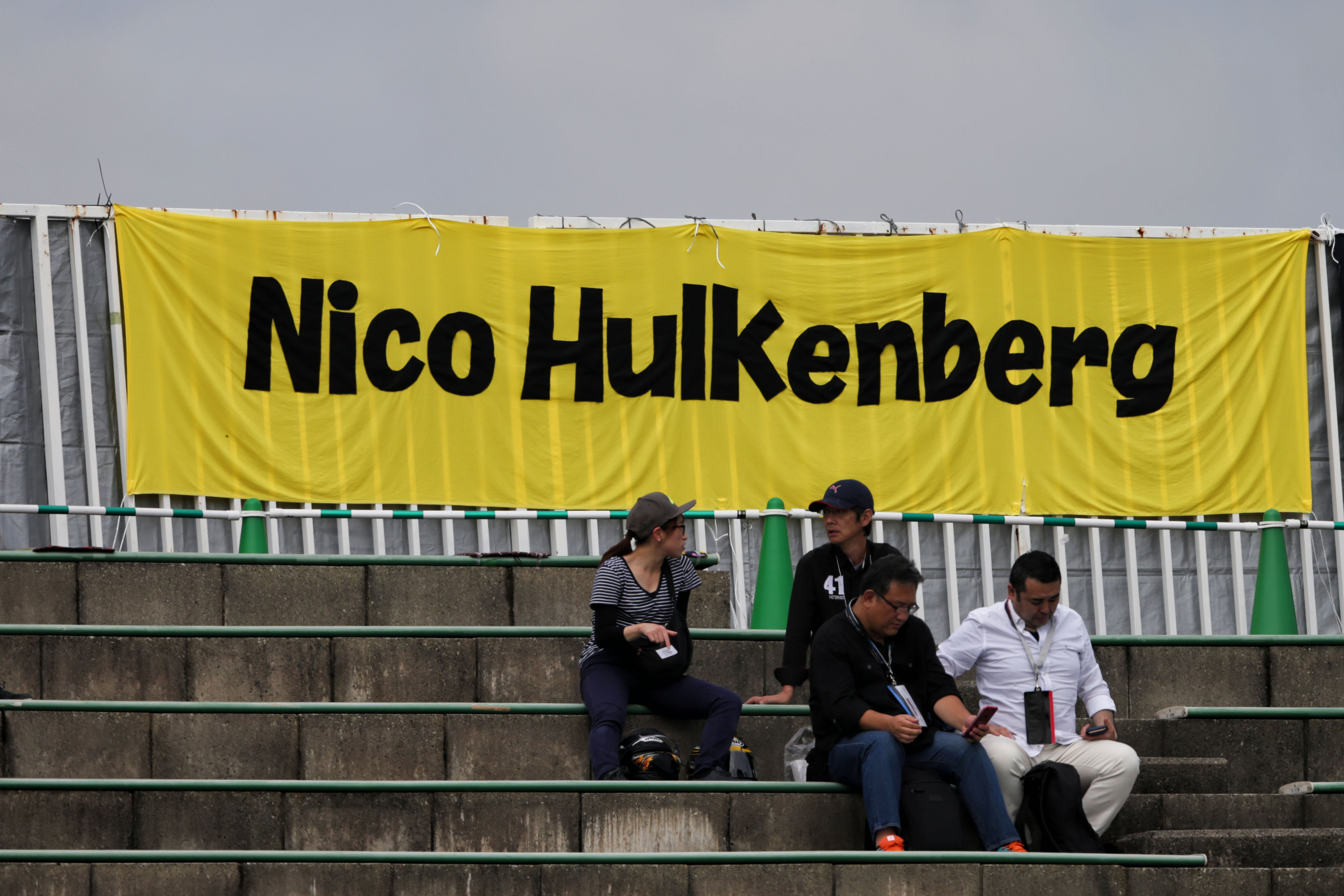 Formula One World Championship 2017, Round 16, Japanese Grand Prix, Suzuka, Japan, Saturday 7 October 2017 – fans in the grandstand and a banner for Nico Hulkenberg (GER) Renault Sport F1 Team.