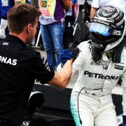 Formula One World Championship 2017, Round 19, Brazilian Grand Prix, Sao Paulo, Brazil, Saturday 11 November 2017 – Valtteri Bottas (FIN) Mercedes AMG F1 celebrates his pole position in qualifying parc ferme.