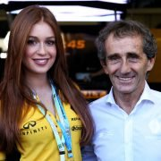 Formula One World Championship 2017, Round 19, Brazilian Grand Prix, Sao Paulo, Brazil, Sunday 12 November 2017 – Marina Ruy Barbosa (BRA) Actress with Alain Prost (FRA) Renault Sport F1 Team Special Advisor.