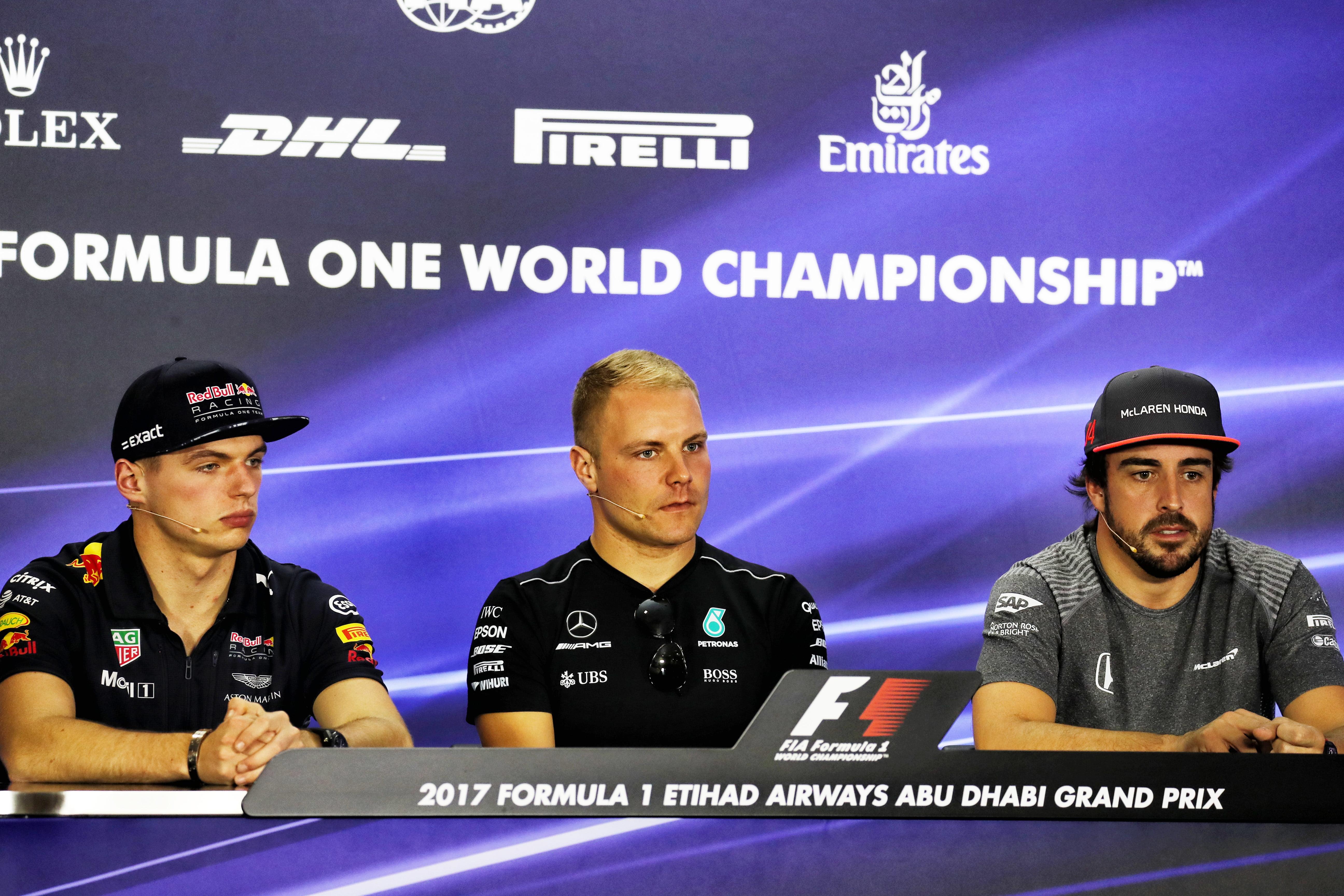 Formula One World Championship 2017, Round 20, Abu Dhabi Grand Prix, Abu Dhabi, United Arab Emirates, Thursday 23 November 2017 – The FIA Press Conference (L to R): Max Verstappen (NLD) Red Bull Racing; Valtteri Bottas (FIN) Mercedes AMG F1; Fernando Alonso (ESP) McLaren.